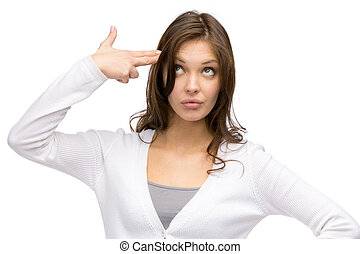 Woman hand gun gesturing - Portrait of woman hand gun...