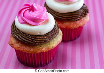 Neapolitan Cupcakes - Close up of neapolitan frosted...