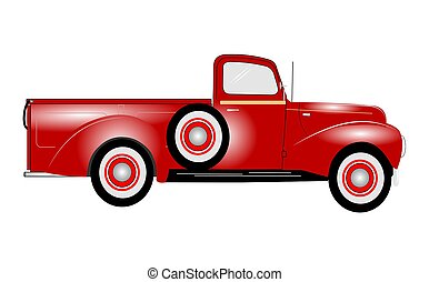 1941 pickup truck  - pickup truck in red from forties