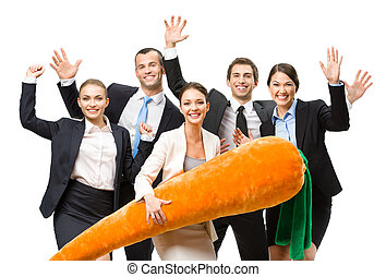 Group of happy business people with toy carrot - Group of...