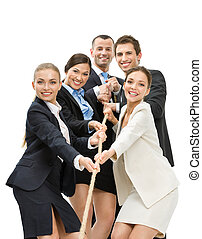 Group of business people pull the rope