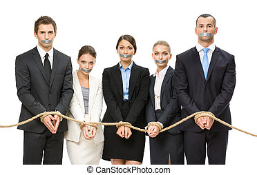 Business people tied with rope and their mouths are taped