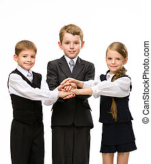 Little colleagues put hands together, isolated on white....