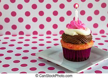Neapolitan Cupcakes - 1 neapolitan frosted cupcake on white...