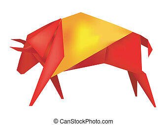 Spanish Origami bull - Paper Spanish bull in the colors of...