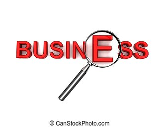 business text with magnifier