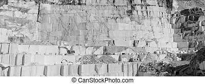 Thassos white marble quarry in bw - Detail of huge Thassos...