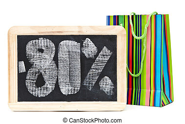 eighty percent discount written on blackboard with colorful...