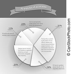 3D business pie chart - Paper 3D business pie chart Vector...