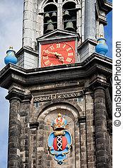 Westerkerk Tower Details in Amsterdam - Amsterdam coat of...