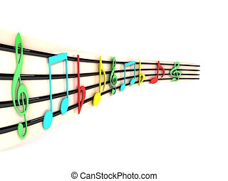side view of three dimensional musical notes