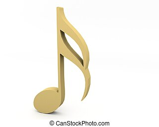 three dimensional golden music note on an isolated...