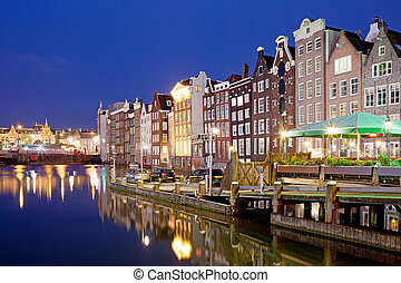 City of Amsterdam at Night - Picturesque city of Amsterdam...
