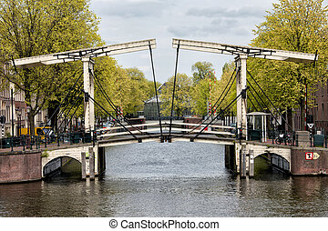 Drawbridge in Amsterdam - Bridge on the mouth of Nieuwe...