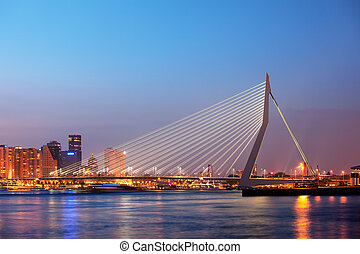 Erasmus Bridge in Rotterdam at Twilight - Erasmus Bridge at...