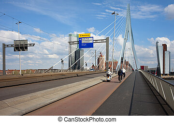 Erasmus Bridge in Rotterdam - Street, sidewalk and bicycle...