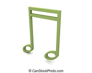 three dimensional clef in green color - side view of three...