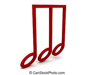 side view of three dimensional red clef note