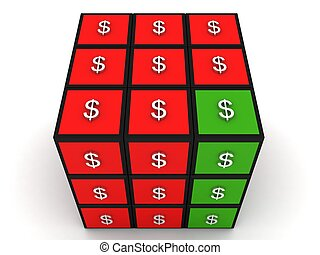 three dimensional on dollar puzzle cube
