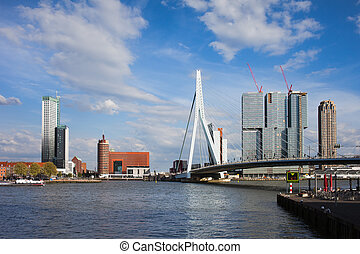 City of Rotterdam Cityscape in Netherlands - City centre of...
