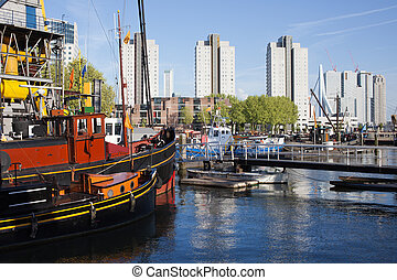 City of Rotterdam Cityscape in Netherlands - Harbour and...