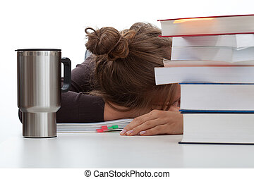 Frustrated student with a coffee - Frustrated student...
