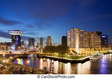 City of Rotterdam at Night - City of Rotterdam cityscape at...
