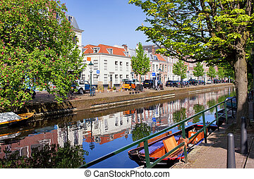 The Hague in Netherlands - Picturesque canal in the city of...