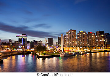 Rotterdam Skyline at Night in Netherlands - City centre of...