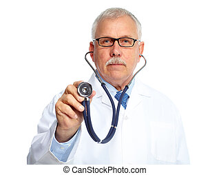 Medical doctor. - Senior medical doctor with stethoscope...