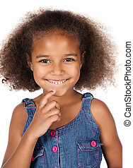 Cute african girl - Adorable cute african child with afro...
