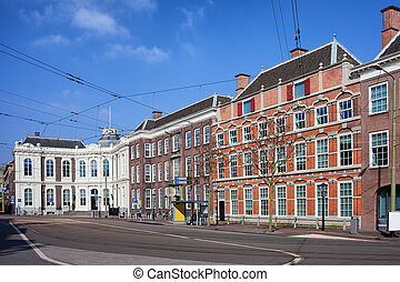 Kneuterdijk Street in Den Haag - Historic architecture along...