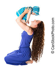 Happy mom and child girl hugging isolate on white background...