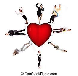 people - workforce - front view of 3d red heart on an...