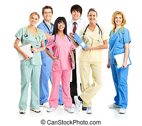 Doctor and nurse group. - Doctor physician group Isolated on...