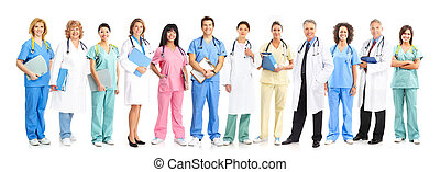 Doctor and nurse group - Doctor physician group Isolated on...
