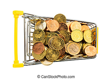 shopping cart with euro coins