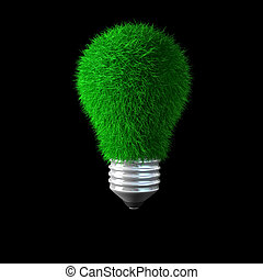 green power - 3d image of bulb with green grass