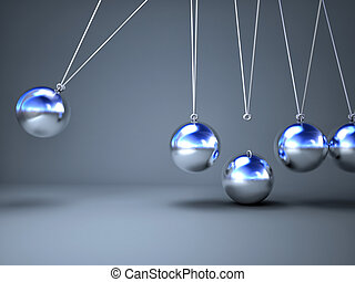 newton cradle - 3d image of classic broken  newton cradle
