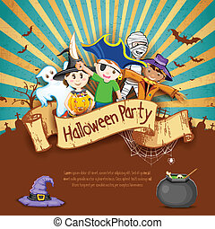 Kids in Halloween Party - illustration of Kids in different...
