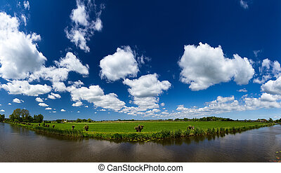 Dutch sky river panorama