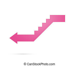downstairs icon - The pink isolated glossy downstairs modern...