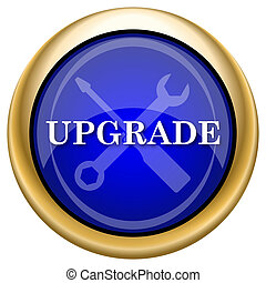 Upgrade icon - Shiny glossy icon with white design on blue...