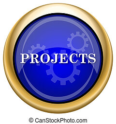 Projects icon - Shiny glossy icon with white design on blue...