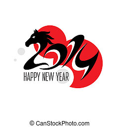 Year of the horse card vector illustration