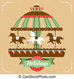 Greeting card with merry-go-round vector illustration