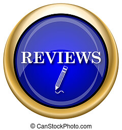 Reviews icon - Shiny glossy icon with white design on blue...