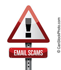 email scams road sign illustration design over a white...