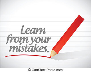 learn from your mistakes written message illustration design
