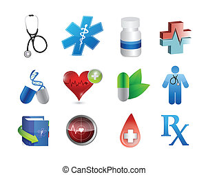 medical icons and tools illustration design over white